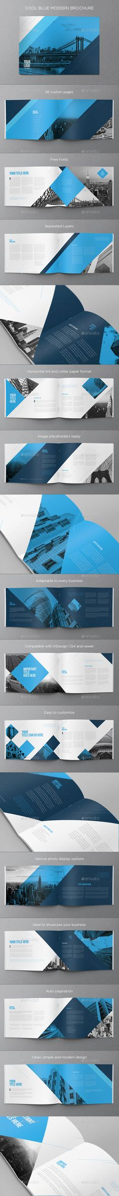 Cool Blue Modern Brochure — InDesign INDD #blue #cool • Available here → https://graphicriver.net/item/cool-blue-modern-brochure/14618896?ref=pxcr