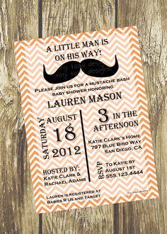"""Little man"" Moustache Bash Baby Shower Invitation Idea...so cute!"