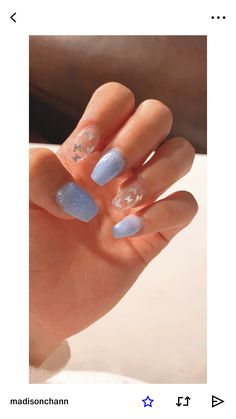 nails with butterflies acrylic * nails with butterflies ; nails with butterflies acrylic ; nails with butterflies short ; nails with butterflies design ; nails with butterflies blue Simple Acrylic Nails, Best Acrylic Nails, Pastel Nails, Cute Acrylic Nail Designs, Pink Nail Designs, Simple Nail Designs, Simple Nail Arts, Blue Acrylic Nails Glitter, Baby Blue Nails With Glitter