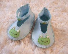 Happy Blue Whale Slippers Baby Loafers Felt by sweetemmajean