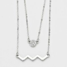 "2-row Silver Pave and Chevron Necklace 2-row Silver Pave and Chevron Necklace. Colors: silver and clear. Necklace size: 16"" + 2"" L. Pendant size: 1 1/4"" x 1/4"". Jewelry Necklaces"