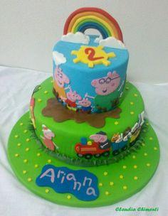 Children's Birthday Cakes - My first Peppa Pig cake for my daughter, Arianna Girly Cakes, Big Cakes, Peppa Pig Birthday Cake, 2nd Birthday, Birthday Ideas, Birthday Parties, Fiestas Peppa Pig, Aniversario Peppa Pig, Pig Party