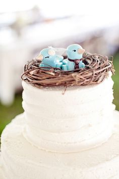 Cute bird nest as wedding cake topper.