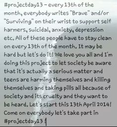 Project 13 on every 13th day of the month. probably not going to do this everytime but some months i will. spread the word guys!