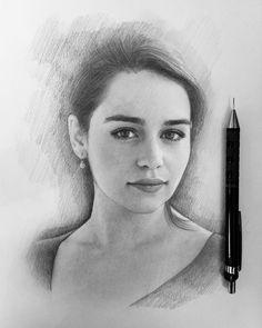 Emilia Clarke - Daenerys Targaryen - Game of Thrones. Very Expressive Drawings, Realistic Portraits. By Berikuly Erkin.