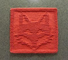 (6) Name: 'Knitting : FOX Wash Cloth / Dishcloth / Quilt Block