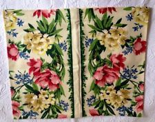 VINTAGE BARKCLOTH PILLOWCOVERS-NEW-PINK YELLLOW BLUE FLORAL SHABBY~VIVID COLORS-