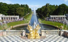 Peterhof Palace is kind of amazing in that the (many) fountains are powered by gravity through an elevated aqueduct. Romanov Palace, Peterhof Palace, Peter The Great, Hotels, Winter Palace, St Petersburg Russia, Golf, Cool Countries, Amazing Destinations