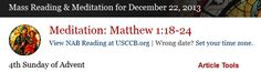 Mass Readings and Catholic Daily Meditations for December 22, 2013 - The Word Among Us - subscription required
