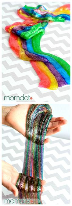 Rainbow Slime: How to make rainbow slime for sensory fun and super awesome playtime - Beautiful, colorful, and awesome! Projects For Kids, Diy For Kids, Crafts For Kids, Science Projects, Borax Slime, Diy Slime With Borax, Glue Slime, Elmer's Glue, Cool Slime Recipes