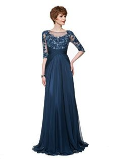 CLOCOLOR Womens Sequin Lace Half Sleeves A Line Chiffon Mother of the Bride Dress Size 24 Navy Blue -- You can get more details by clicking on the image.