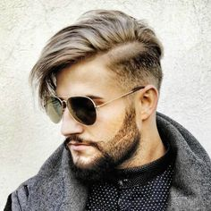 parted pompadour blond brown hair for men