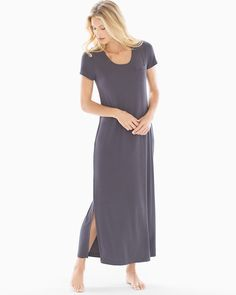 Ekouaer Women Long Sleeve V-neck Nightgown Patchwork Rib Cuff Sweatshirts Nighties Sleepwear Casual Female Sleeping Dress Lovely Luster Nightgowns & Sleepshirts