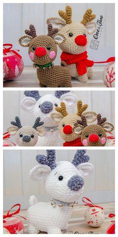 Crochet Deer, Diy Crochet, Crochet Crafts, Crochet Toys, Crochet Projects, Crochet Daisy, Crochet Christmas Gifts, Crochet Christmas Decorations, Christmas Knitting Patterns