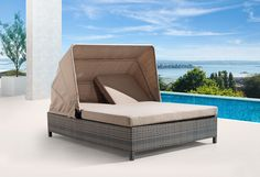 Perfect for Two! Double Chaise Lounger, a Siesta Key Outdoor Day Bed with Adjustable Shade Canopy by CarlsPatio.com. #daybed #doublechaise #patiofurniturecom #CarlsPatio