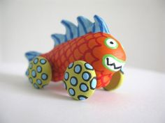 Orange Monster Fish  Mini Sculpture on Wheels by PearsonMaron, $25.00