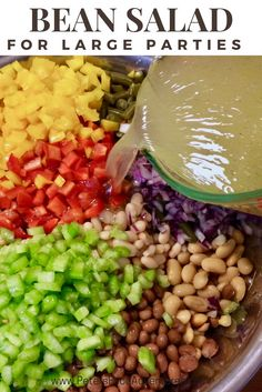 An Easy 7 Bean Salad recipe perfect for large potlucks, church events, bbq's or summertime gatherings. Looks and tastes amazing! 7 Bean Salad Recipe, Salad Recipes, Vegetable Recipes, Vegetarian Recipes, Healthy Recipes, Delicious Recipes, Vegetable Sides, Bean Recipes, Party Recipes
