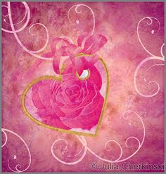 golden heart with rose flower pink composition grunge idea for valentines day, wedding and other love moments     http://www.tpt-fonts4teachers.blogspot.com/2013/01/san-valentines-day-free-clip-arts.html