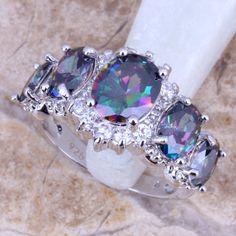 Rainbow White Topaz,925 Sterling Silver Ring Main Stone:Rainbow Topaz & Topaz Sizes 6 7 8 9 Material: Gemstone Weight: 5.4 Grams ( including gemstone & silver )