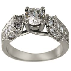 """Vintage Diamond Engagement Setting Milgrain And Trellis -  This vintage diamond engagement ring can accommodate between a 0.65ctand a 0.85ct center diamond.     The sides of the ring are surrounded by milgrain and the ring is further enhanced by brilliant round diamonds.  The shank of this engagement ring has a unique """"criss-cross"""" design.    Dacarli has been manufacturing diamond jewelry for three generations, since 1939. The characteristics of antique rings are milgrain..."""