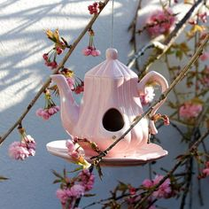 Teapot Birdfeeder - adorable and a possible DIY. Perfect Mother's day gift