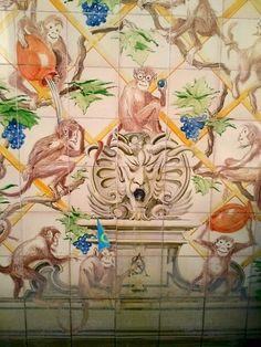 Monkeys painted on tiles at the garden fountain of As Janelas Verdes Hotel, Lisbon, Portugal: http://www.europealacarte.co.uk/blog/2012/04/09/janelas-verdes-lisbon/
