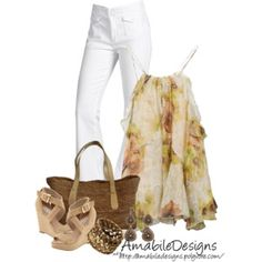 #SpringTimeAmabileDesigns; filmy top with white jeans; color combo of top/accessories