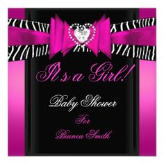 20 best hot pink and zebra baby shower invitations images on baby shower girl baby hot pink black zebra invitation filmwisefo