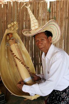 Rotenese Man Playing Traditional Music Instrument 'Sasando' - Rote Island, Indonesia