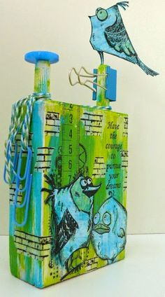 Tim Holtz Crazy Birds on altered wooden block, made by Alie Hoogenboezem-de Vries (picture 2 of 2)