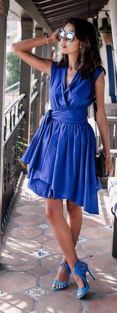 Monochromatic Klein Blue Outfit Idea