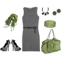 gray cashmere with a pop of green