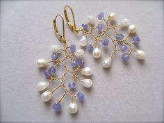 Tanzanite and Pearled White Sapphire Branch por Sylviajewelry