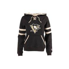 Women's Pittsburgh Penguins Old Time Hockey Black Grant Lace-Up Slim... ❤ liked on Polyvore featuring tops, hoodies, slim hoodie, slim fit hoodie, hooded sweatshirt, hoodie top and slim hoodies