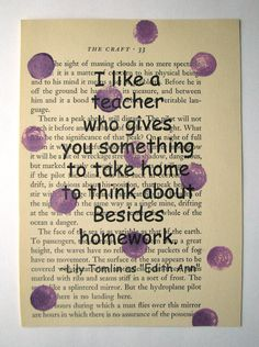 Teacher quote print on a book page
