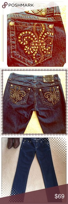 MISS ME 🆕 GORGEOUS GLAM JEANS 👖 🆕 MISS ME Jeans with GORGEOUS Glam Pockets. Beautiful Pattern! Get the L👀K !!! 😚 Miss Me Jeans Straight Leg