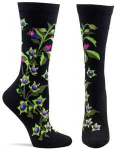 I am collecting the witches garden socks...I don't have these yet!...soon... Shop Womens Belladonna Sock from Ozone Design. These socks mesmerize and induce a trance like state of adoration. Free Shipping!