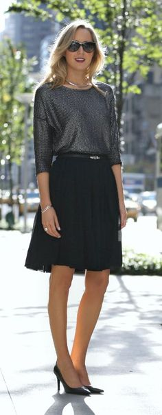 Look festive for the office by adding a little shine with your top! A top like this makes those simple skirt and pant combos look fabulous! Would you wear this look to the office? How about for a holiday party?