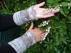 Crochet Elegant Mittens Cuffs Handwarmers grey beige door AnnemiekeA, $30.00