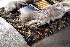 Detail of Vintage French Modern Tribal luxury pillow by Deborah Main. #TextureTuesday