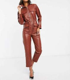The Leather Jumpsuit Trend Is One of the Coolest of 2020 Black Catsuit, Leather Catsuit, Leather Jumpsuit, Striped Jumpsuit, Rompers Women, Jumpsuits For Women, Custom Leather Jackets, Boiler Suit, Lazy Outfits