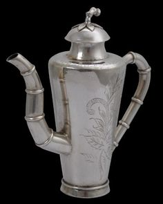 Peranakan Chinese Indonesian Silver Wine Ewer - height: 12cm, weight: 151g
