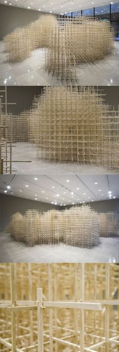 architecture - A Monumental Scaffolding of Poplar Wood at Rice Gallery by Ben Butler Land Art, Instalation Art, Colossal Art, Parametric Design, Scaffolding, Art Abstrait, Sculpture Art, Metal Sculptures, Abstract Sculpture