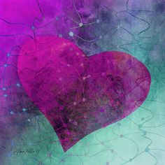 Heart Connections Two, abstract digital painting of a heart in shades of magenta,pink,purple and teal blue. copyrights Ann Powell all rights reserved. This image is also available in other colors, see my gallery titled Hearts. Heart Poster, Purple Canvas, Fine Art Prints, Canvas Prints, Heart Pictures, Heart Painting, My Beautiful Friend, Valentine Heart, Valentines