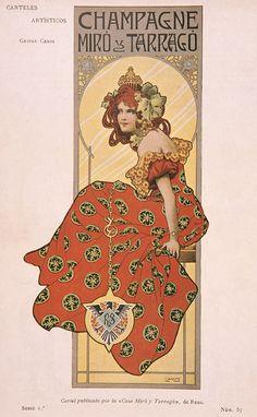 Champagne Miró e Tarrago, 1901 Art Nouveau Mucha, Art Nouveau Poster, Art Nouveau Illustration, Art Deco Posters, Vintage Artwork, Vintage Prints, Erte Art, Alphonse Mucha, Illustrations And Posters