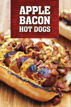 Cheddar, bacon, chicken, apple hot dogs with spicy mustard sauce will become a hot dog you crave! A perfect balance of savory and sweet! Grilling Recipes, Pork Recipes, Cooking Recipes, Smoker Recipes, Cooking Ideas, Bacon Hot Dogs, Burger Dogs, Burgers, Cooking A Roast