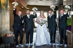 Groomsmen with bridesmaid's bouquets Bridesmaid Bouquet, Bridesmaid Dresses, Wedding Dresses, Family Portraits, Groomsmen, Bouquets, Fashion, Bridesmade Dresses, Bride Dresses