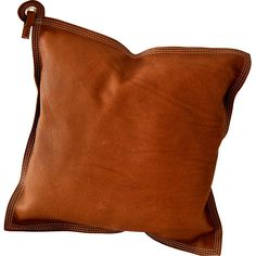 Leather cushion Brown - ByQRJ