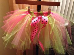 Hand made tutu pink and green, got instructional how to video on YouTube