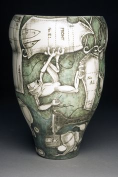 Exemplara: Porcelain vase with underglaze pencil and washes by CJ Niehaus Part of NatureNurture exhibit at Yeiser Art Center click now to see more. Pottery Painting, Ceramic Painting, Ceramic Art, Ceramic Pottery, Pottery Art, Clay Vase, Precious Metal Clay, Pottery Sculpture, Modern Ceramics